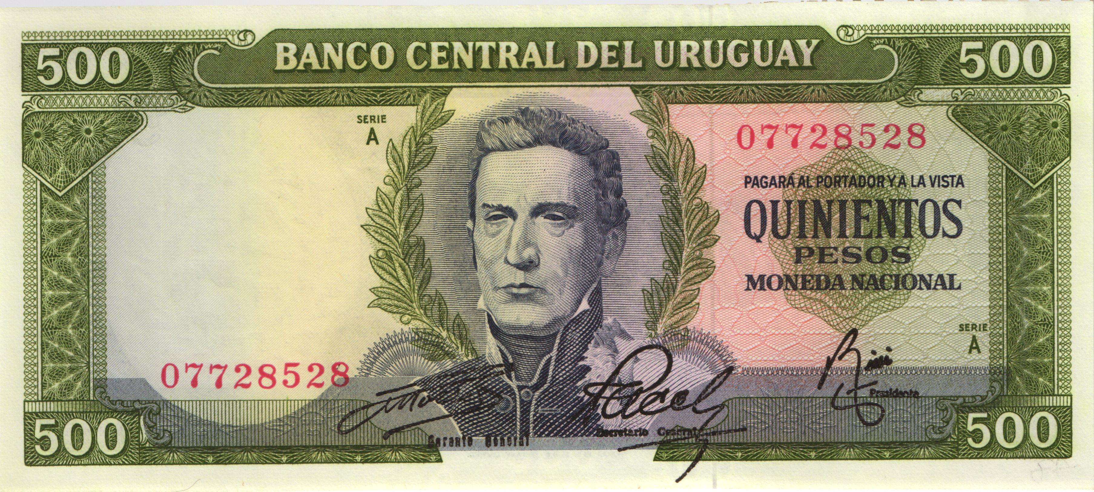 RealBanknotes.com > Uruguay p78a: 500 Pesos Uruguayos from
