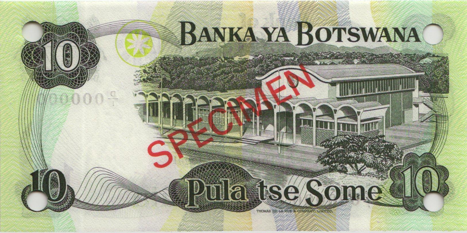 Botswana P 04s1 10 Pula (1976) Specimen D/1 000000 (1)