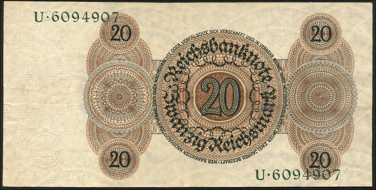 R.169: 20 Reichsmark 1924 H/U (2)
